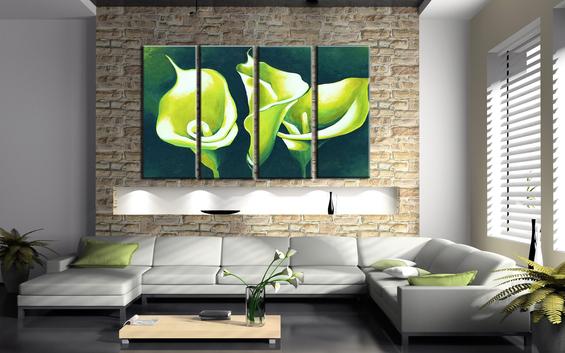 Модульная картина в интерьере гостиной фото